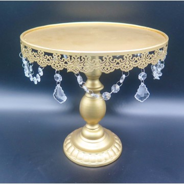 "10"" Gold Cake Stand with crystals"