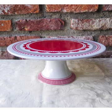 "11"" White and Red Cake Stand"