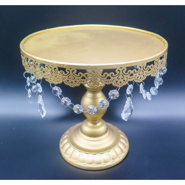 "12"" Gold Cake Stand with crystals"