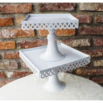 """8"""" x 8"""" Teardrop Lace Square Stand"""