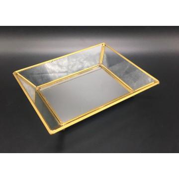 Gold Mirror Glass Dish (Polygon)