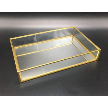 Gold Mirror Glass Dish (Rectangle)