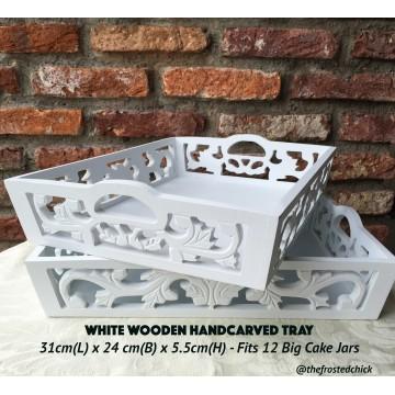 White Wood Lace Tray
