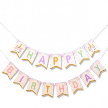 Happy Birthday Unicorn Pastel Bunting