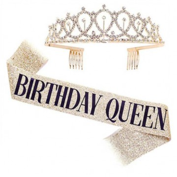 Birthday Queen Tiara and Sash Set
