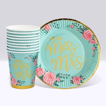 From Miss. to Mrs. Roses Paper Cup and Plate Set (10 each)