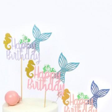 Happy Birthday Mermaid Tail Cake Topper