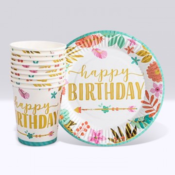 Happy Birthday Patterns of Nature Paper Cup and Plate Set (10 each)