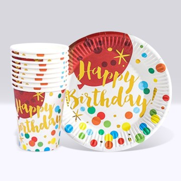 Happy Birthday Polka Dot Paper Cup and Plate Set (10 each)