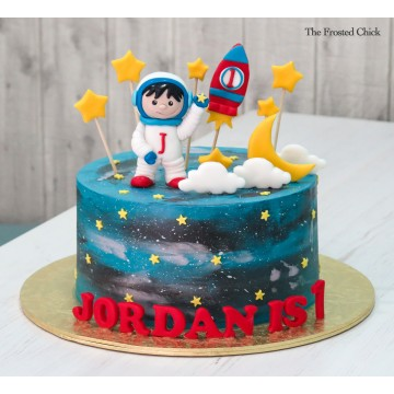 Galaxy Space Cake with Astronaut and Rocket