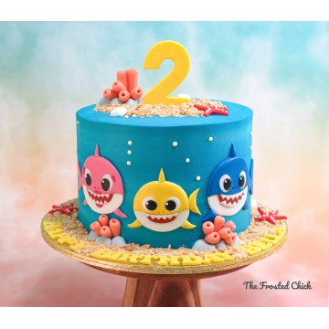Shark family cake