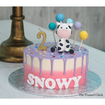Pastel Drip Cake with Baby Cow
