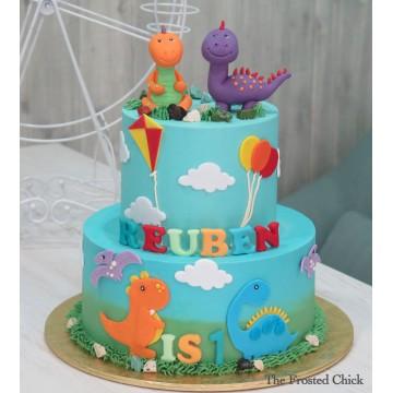 2-tiered Dinosaur Cake