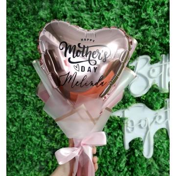 """9"""" Rose Gold Heart Foil Balloon Hand Bouquet"""