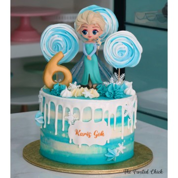 Frozen Drip cake with Elsa topper