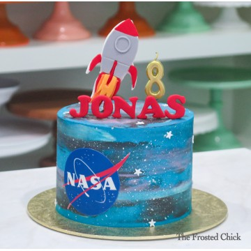 Galaxy Space Cake with Rocket