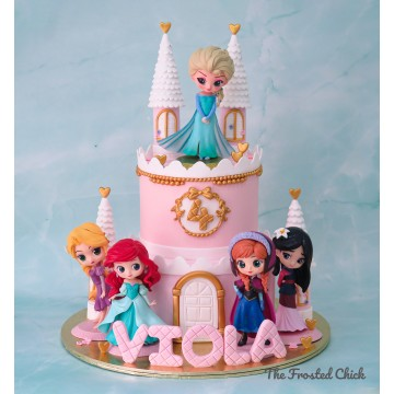 2-tiered Princess Castle Cake