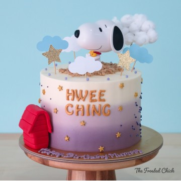 Ombre cake with Snoopy