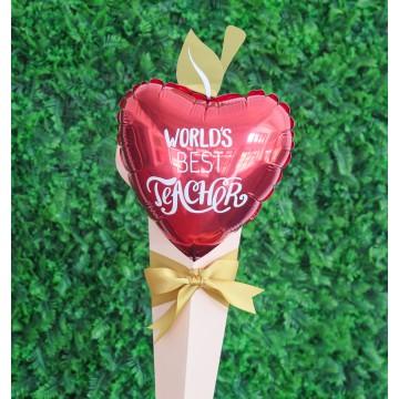 World's Best Teacher Apple Foil Balloon Hand Bouquet