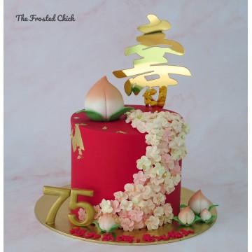 Longevity Cascading Blossoms Cake