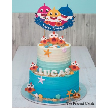 Ombre Baby Shark Cake