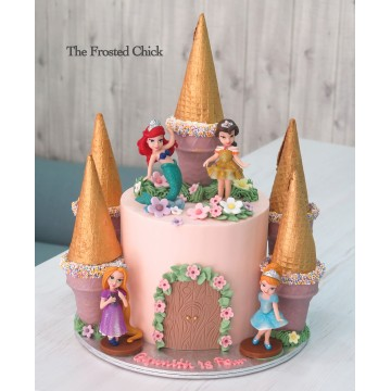 Castle cake with Princess toy toppers