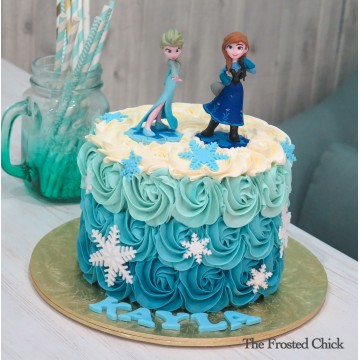 Ombre Rosette cake with Toy Frozen toppers