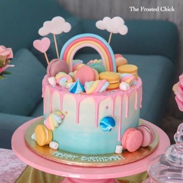 Pastel Rainbow x Macaron Drip Cake