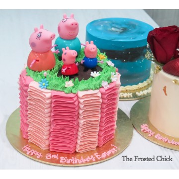 Ruffles and Grass Cake with Peppa pig family Toy set