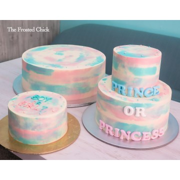 Gender Reveal Watercolor Cake