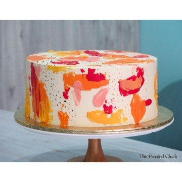 Abstract Buttercream Painted Cake