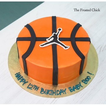 Basketball cake with jumping man