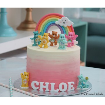 Ombre Cake with pastel rainbow and Carebear toy set