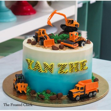 Construction cake with rocks