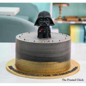 Brushed Gold Cake with Darth Vader/Storm Trooper toy topper
