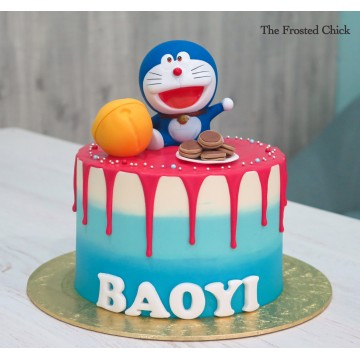 Drip Cake with Doraemon toy topper