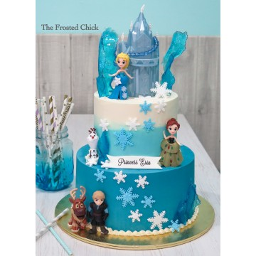 Ombre cake with Frozen Castle toy toppers and sugar shards