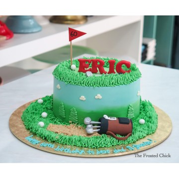 Golf Cake with Caddy and clubs