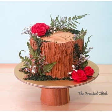 Rustic Floral Log Stump Cake