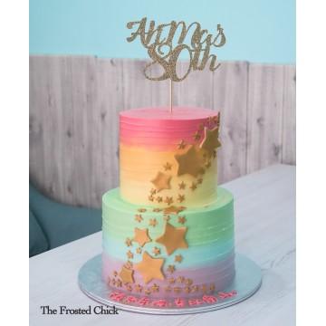 Pastel Rainbow Swirl with Gold Stars