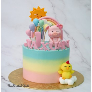 Sunshine Pastel Rainbow Piggy and Chick