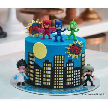 Skyline cake with PJ Mask toy toppers