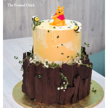 2-tiered Rustic Tree Stump Cake with Winnie the Pooh topper