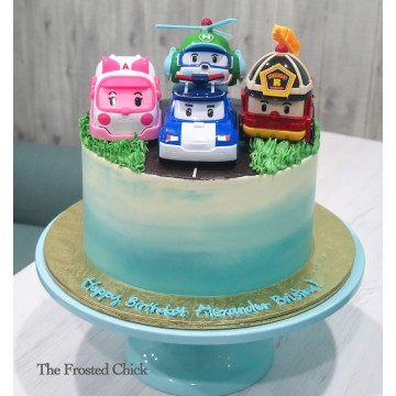 Ombre Cake with Robo car poli toy set