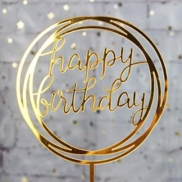 Happy Birthday Acrylic Topper (Round)