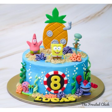 Underwater cake with Spongebob and friends toppers
