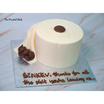 Toilet Paper with Poop Cake