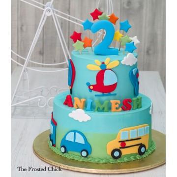 Air & Land Transport Cake