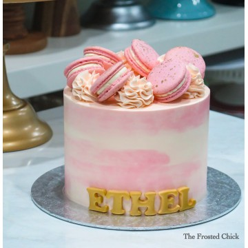 Water Colour Cake with Gold splattered macarons