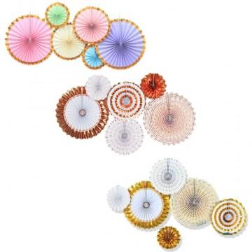 Decorative Round Paper Fan Set